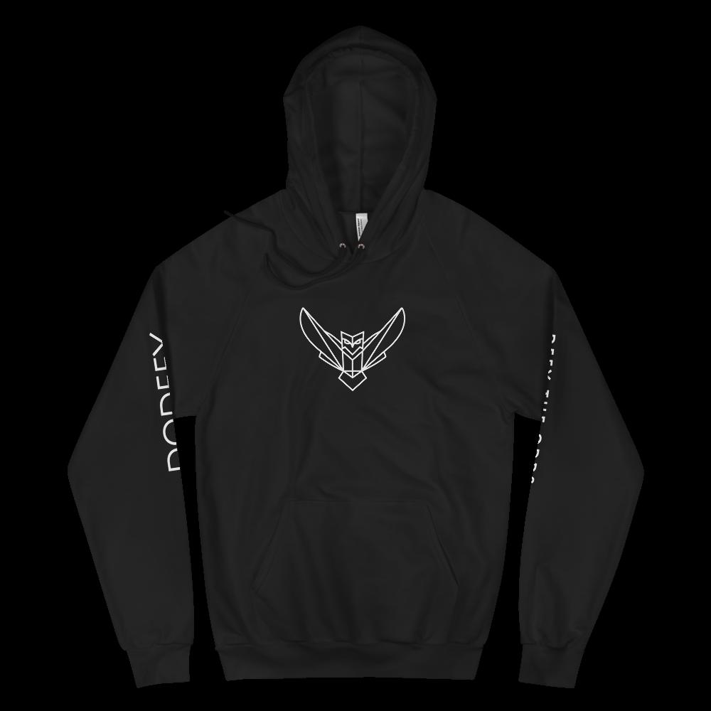Men's Fleece Hoodie Black Dodefy Owl Front & Side Arms Logos