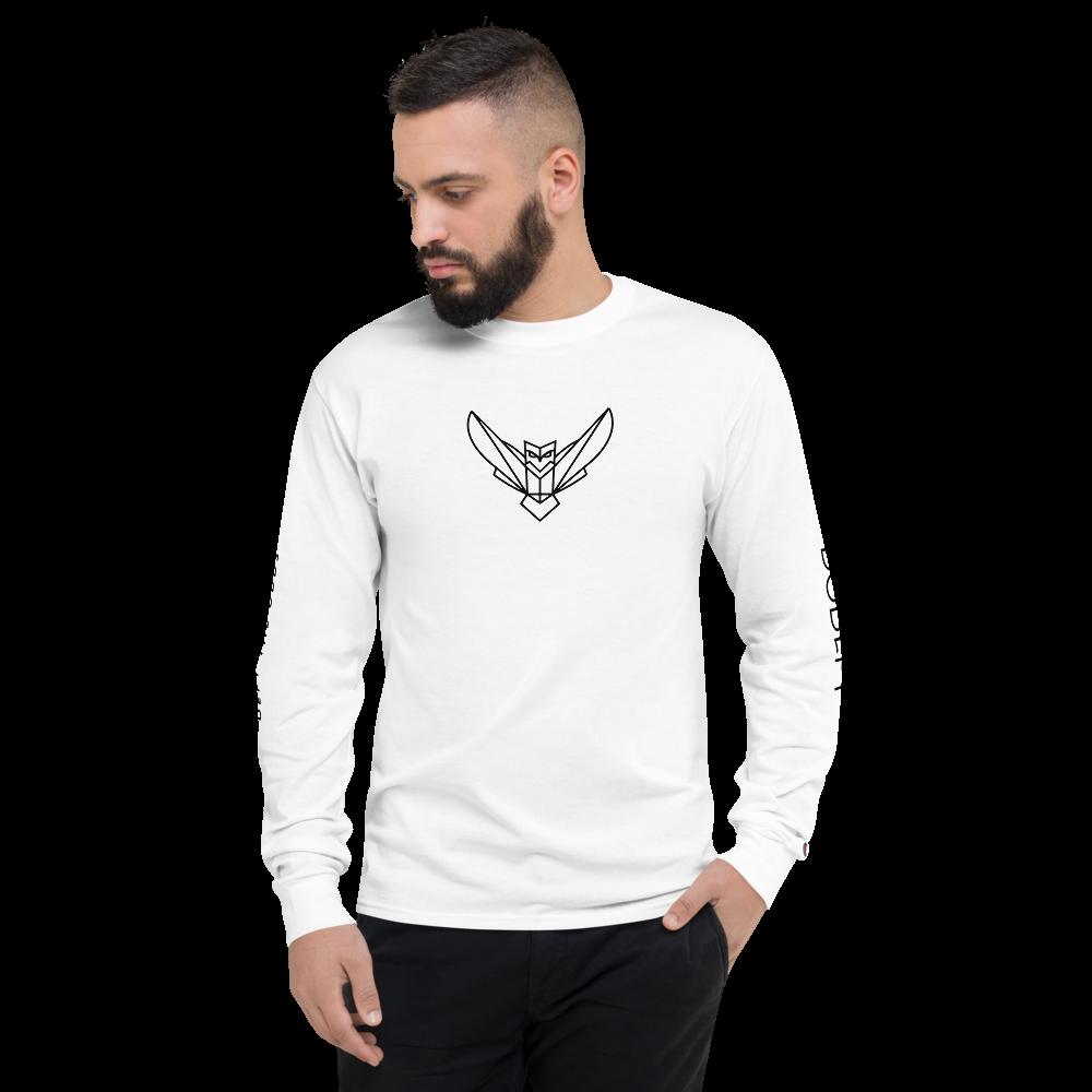 Men's Champion Long Sleeve Shirt Black Logo Dodefy Sleeves Front & Back