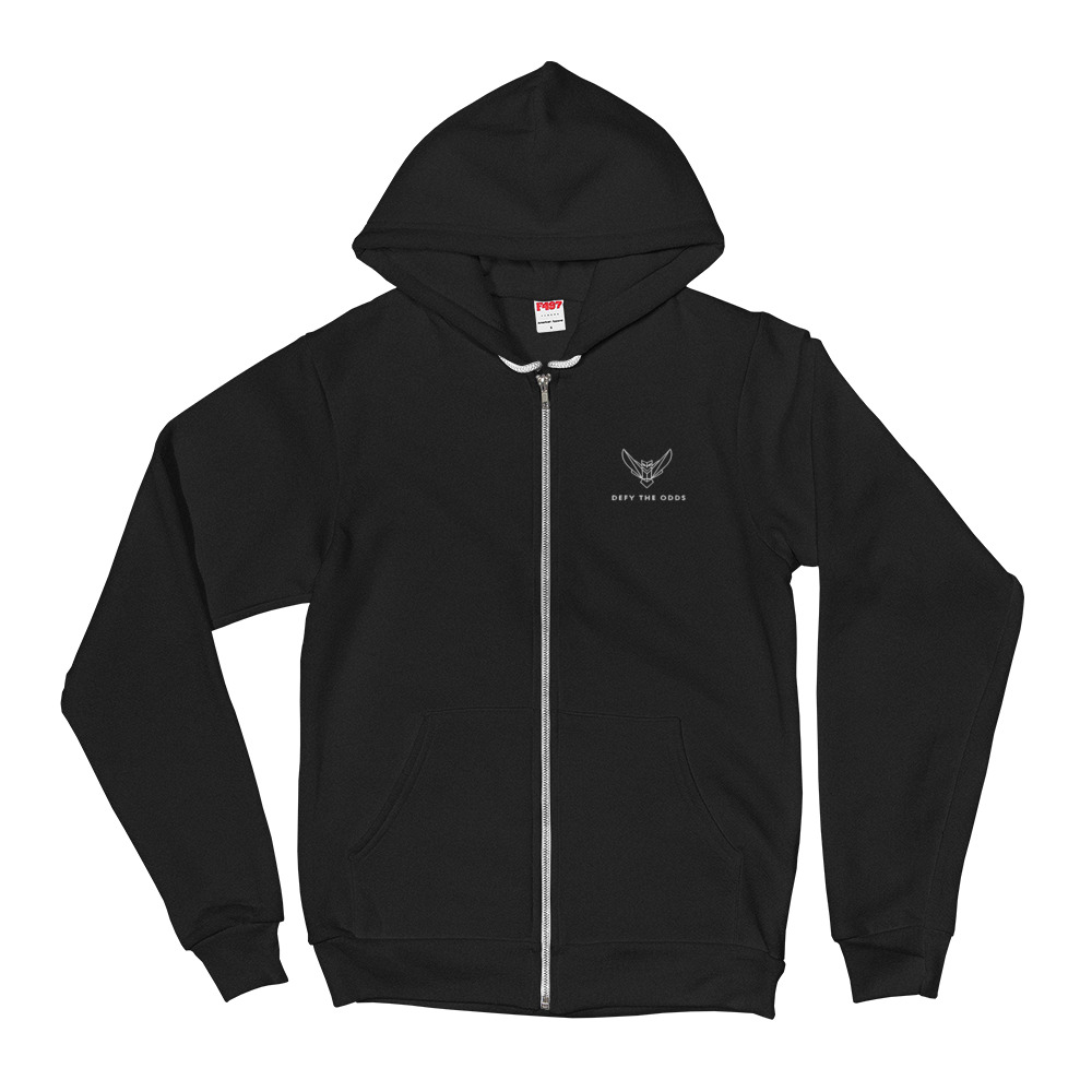 Men's Hoodie Sweater Zipper Embroidered Owl & Defy the Odds