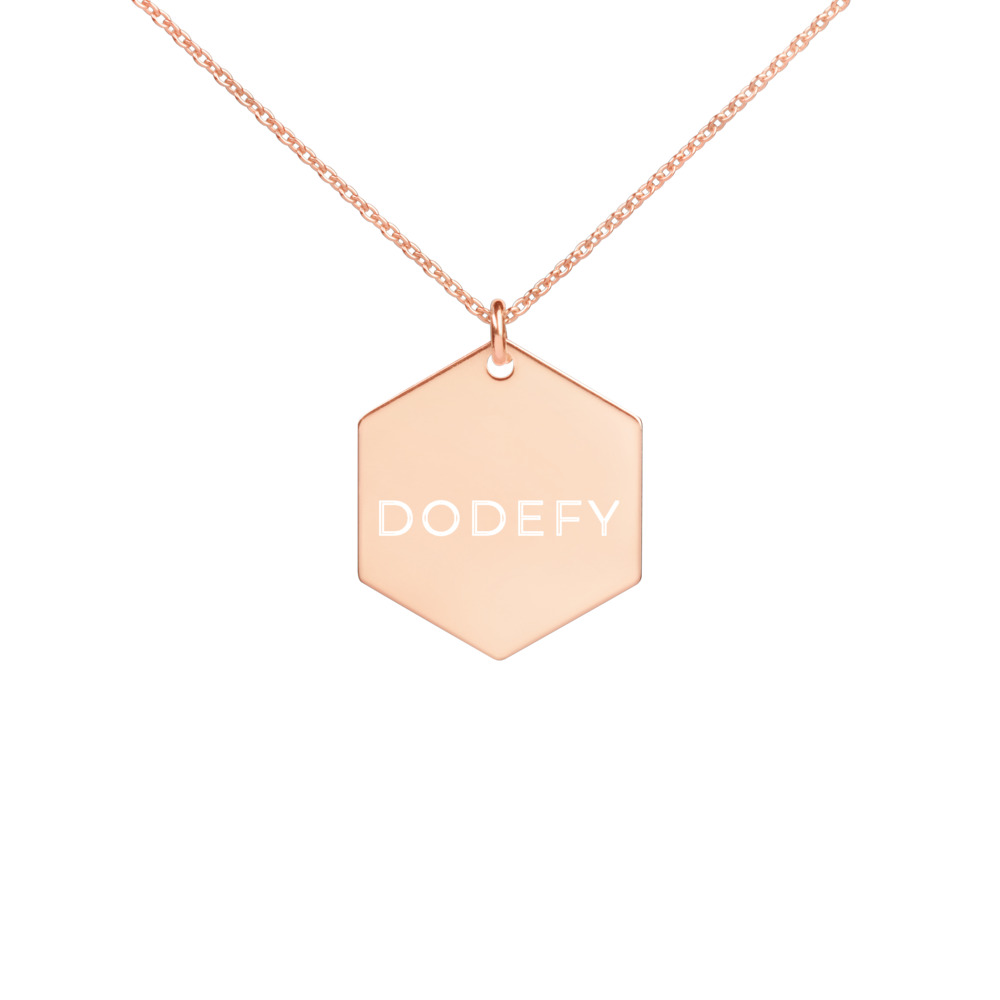 Engraved Silver Hexagon Necklace Dodefy