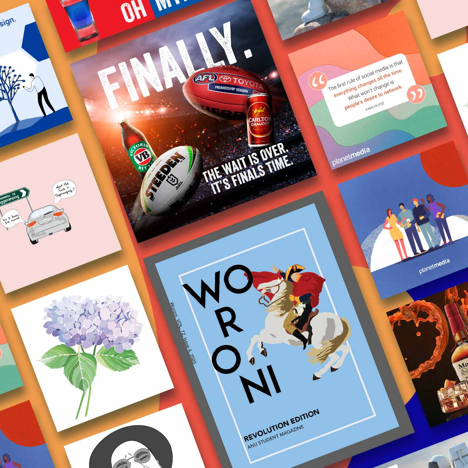 Compilation of graphic design projects for Canberra businesses.