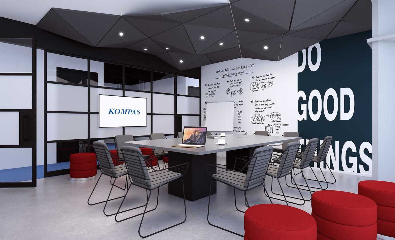 A meeting room design for Kompas that is in-line with out Vision; creating welcoming, sustainable and inspiring environments for Indonesia.