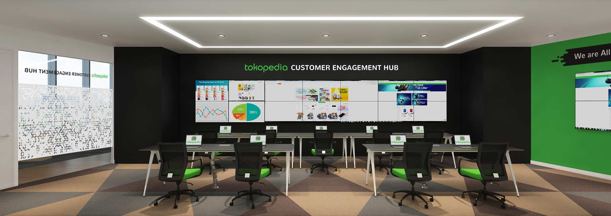 This is a 3D render of the customer services command centre AVIP designed and built for Tokopedia. The room is has space for nine people, who all face at 14 TV screens that show customer service data.