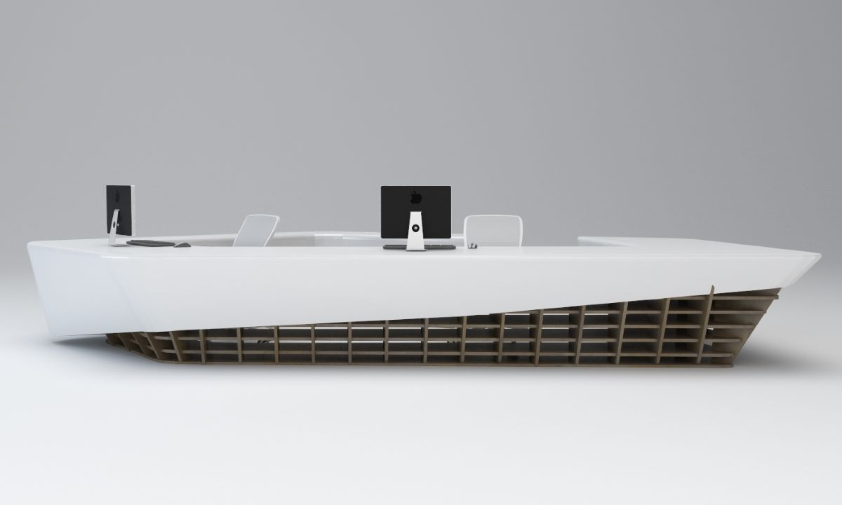 3D view of a reception desk designed by AVIP's desingers and eventually produced in our own factory.