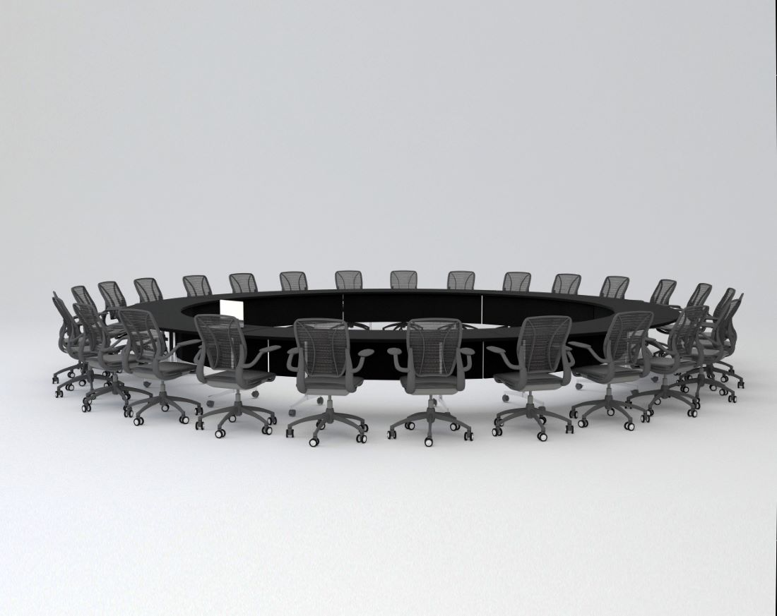 3D view of a huge round meeting table. The table is a custom design by AVIP and the office chairs are imported Humanscale chairs from Europe.