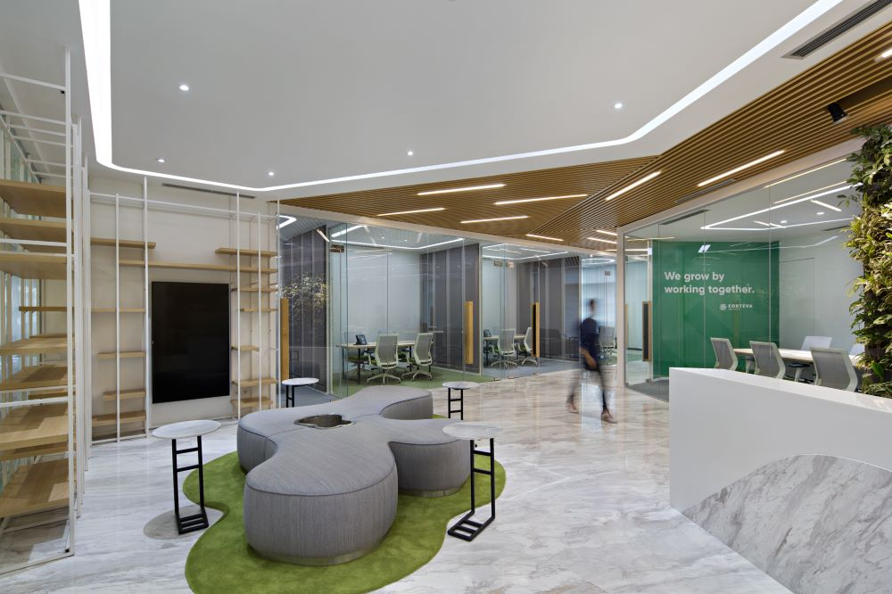 Bright and welcoming lobby of Corteva's new office in Jakarta. Interior Design + Build by AVIP