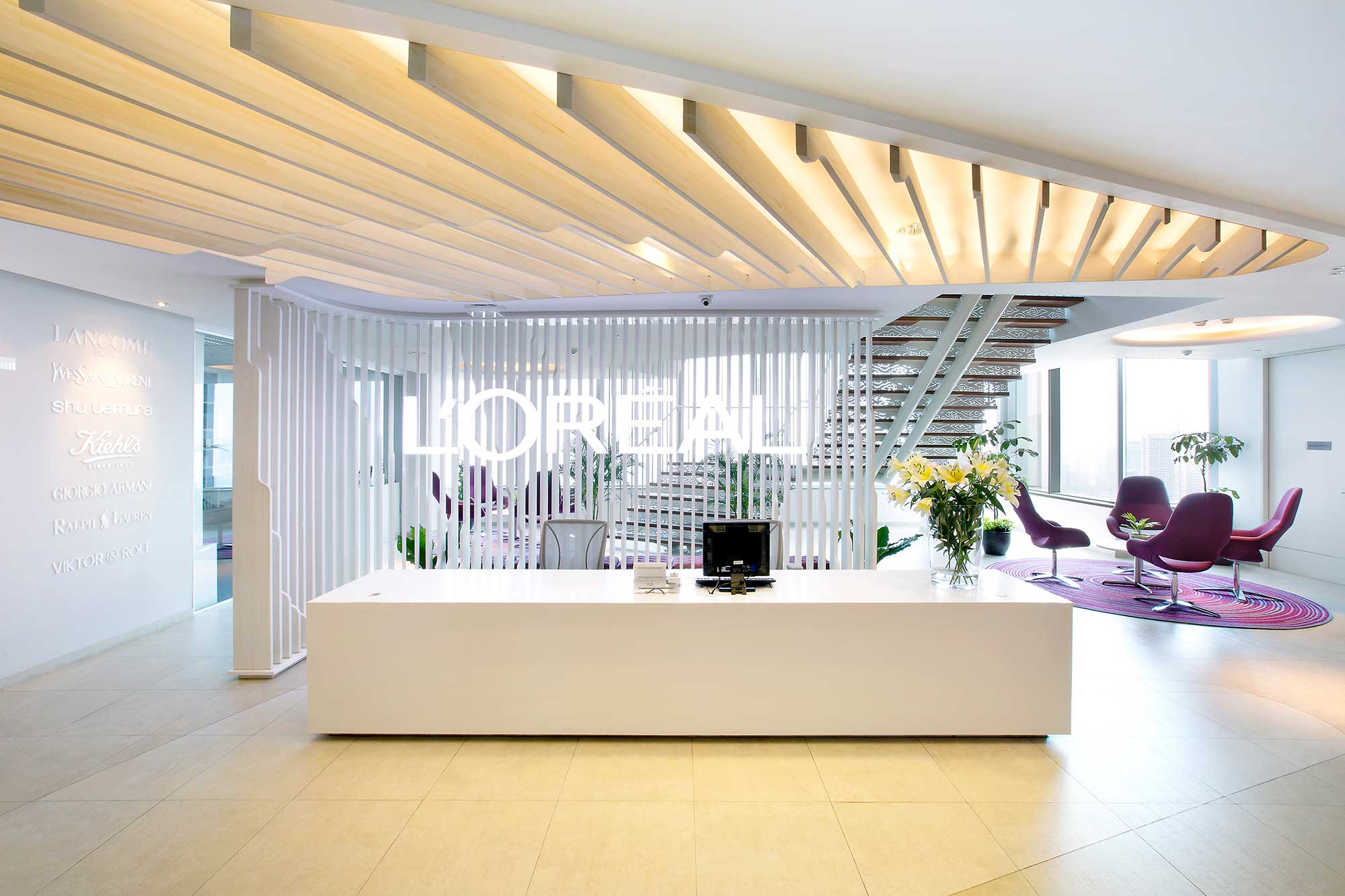 The reception of L'Oreal's new office in Jakarta. Interior Design + Build by AVIP