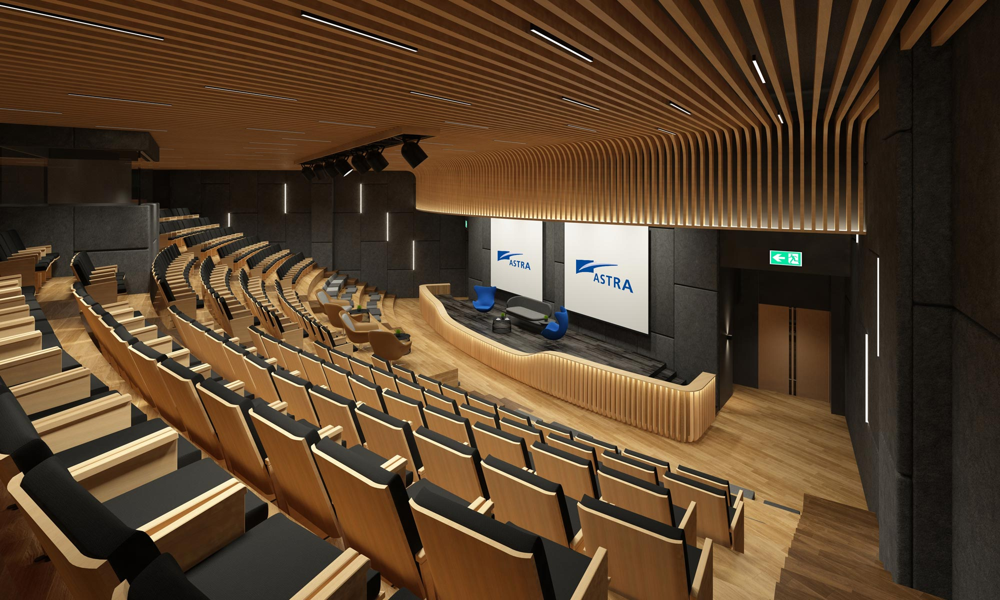 Astra's new auditorium for team gatherings of up to 500 people. Interior design by AVIP.
