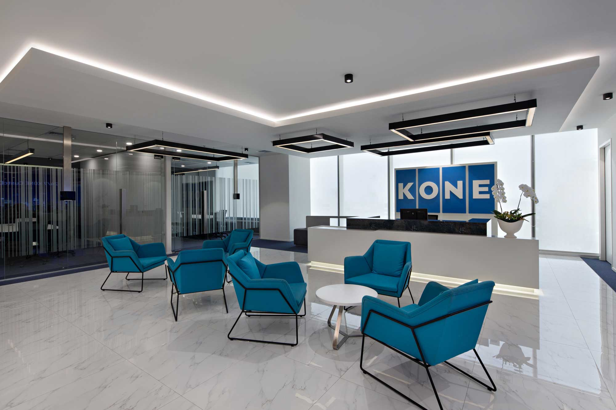 KONE's new reception for their office with a futuristic look. Interior Design + Build by AVIP