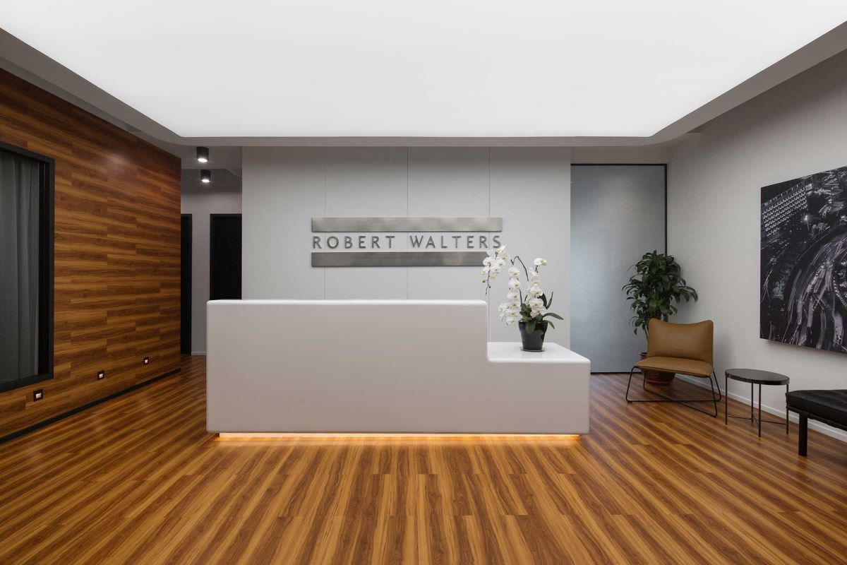 The new reception for Robert Walters office with a minimalistic modern look and feel. Interior Design + Build by AVIP