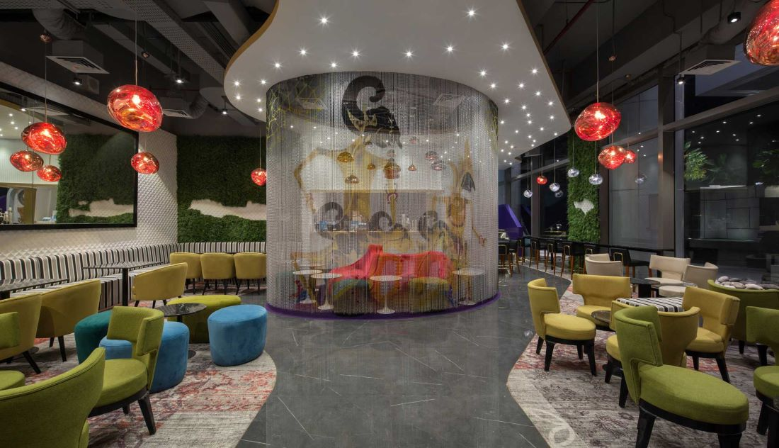 Entrace view of the new Komunal Cafe in Capital Place, Jakarta. Interior design + Build by