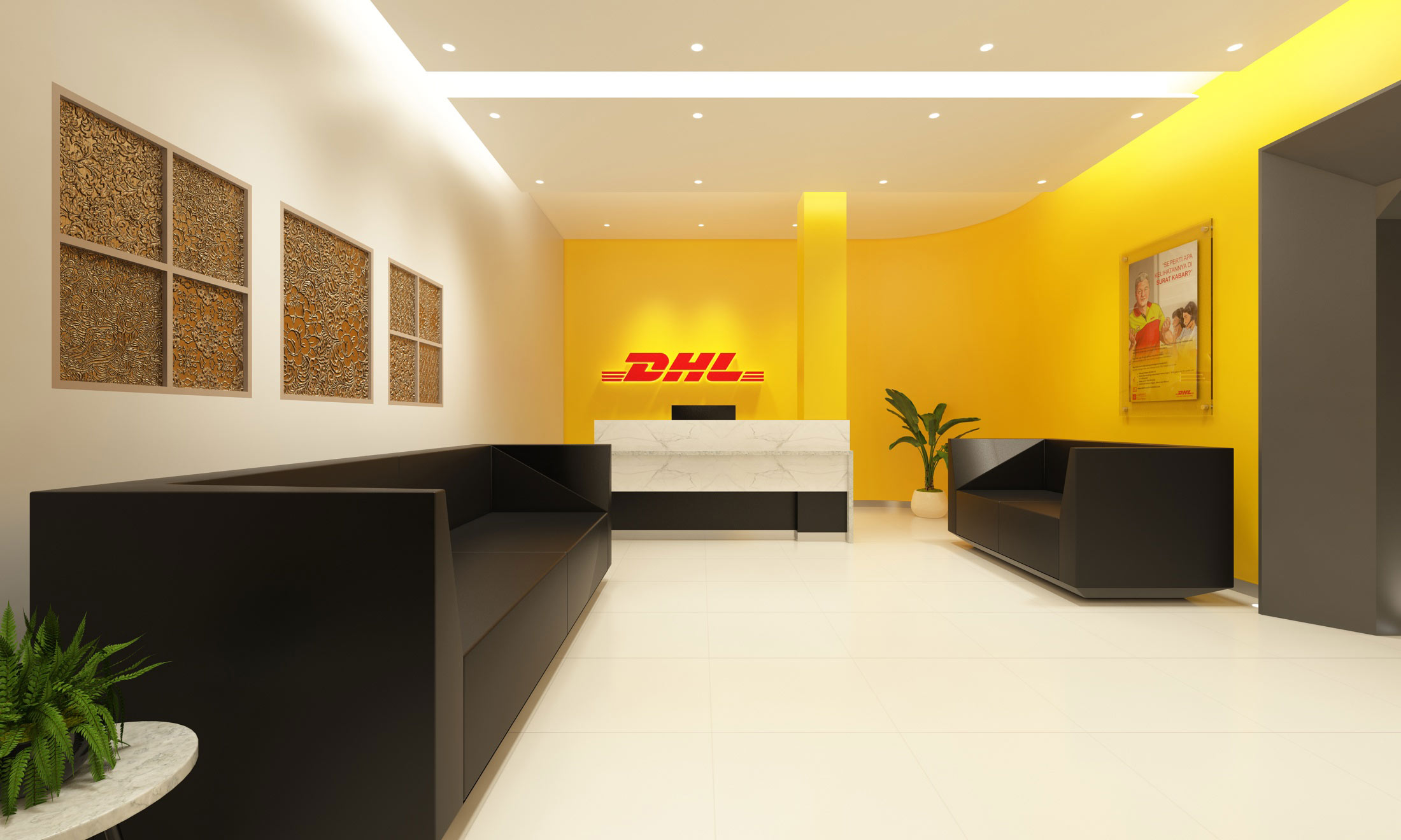 The modern and stylish reception of DHL's new office. Interior design by AVIP.