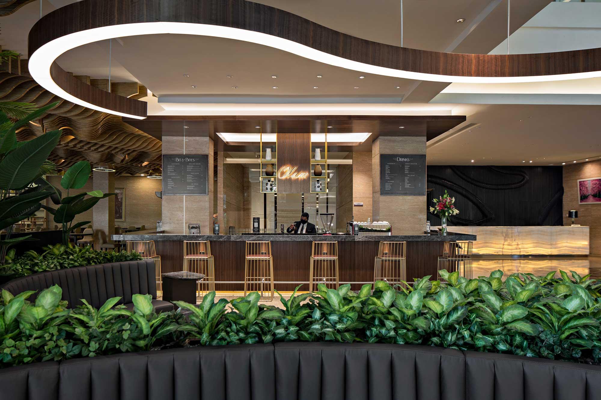 The renovated reception area of JS Luwansa's hotel. Design + Build by AVIP.
