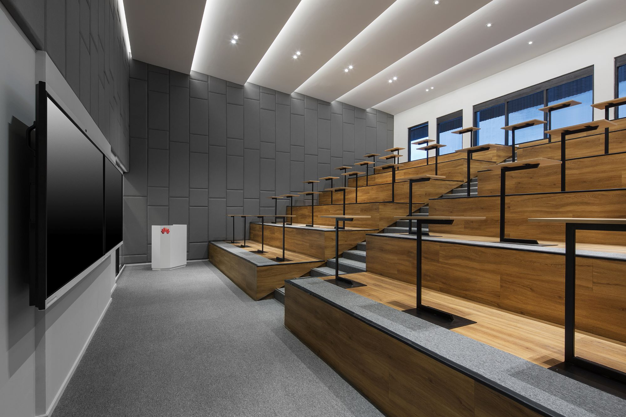 Big lecture hall for Huawei's new training center in Jakarta, Indonesia. Interior design + build by AVIP.