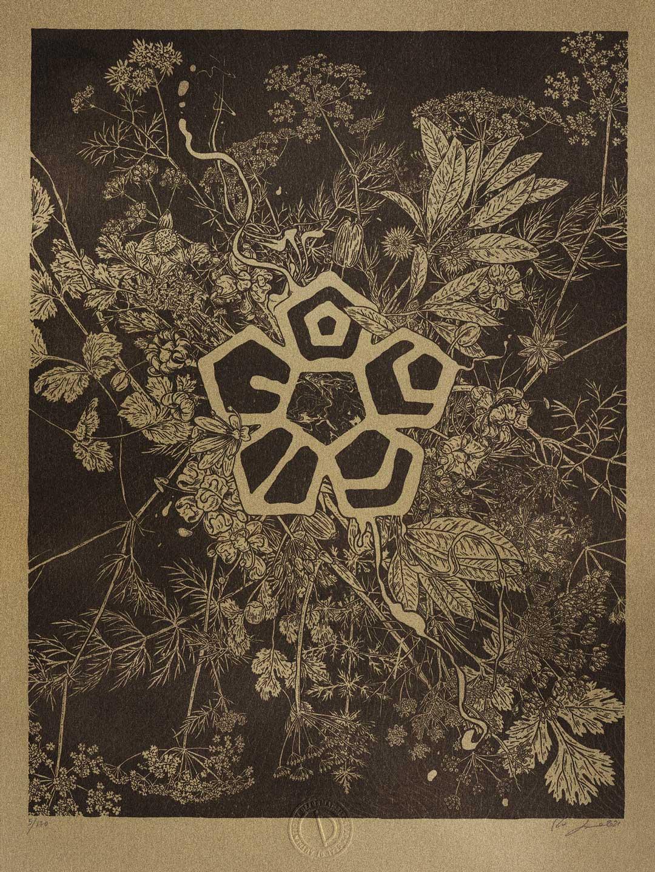A hand drawn, aquavit themed risograph print on gold paper made by Remi Juliebø.