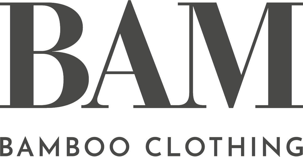 A gray logo that says BAM Bamboo clothing.