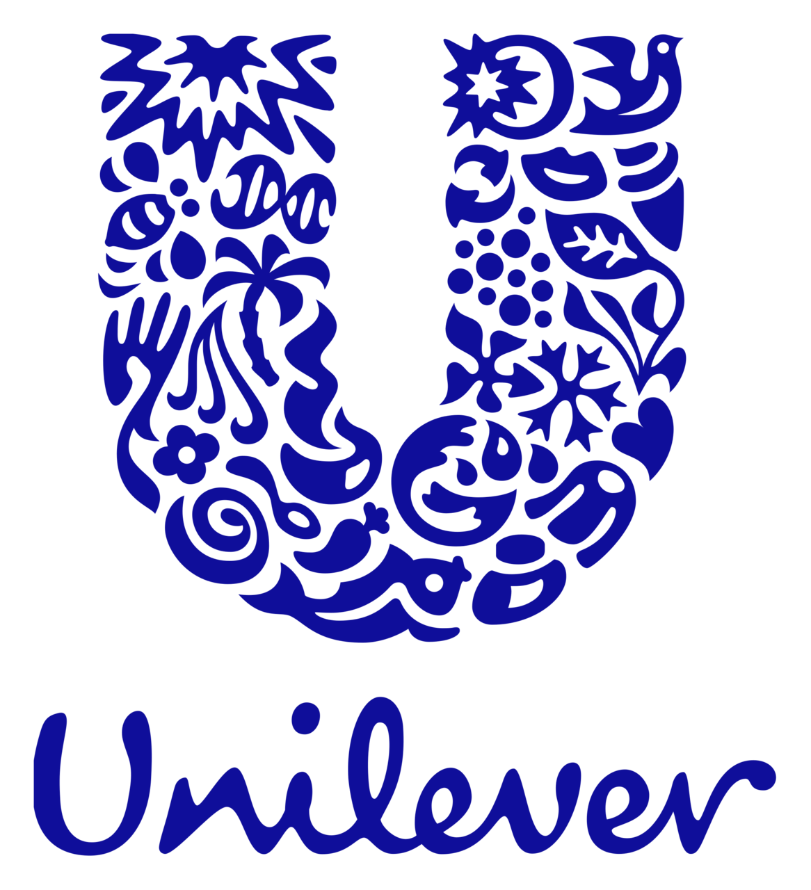 Unilever logo with big decorative U above made from various illustrations