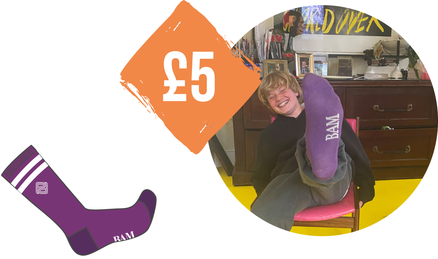 A product shot of the purple socks then the text reads. How much is a pair of socks? £5.