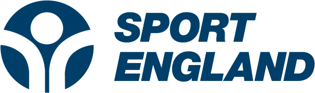 Navy Sport England logo with pictogram of person to the left