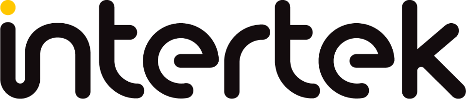 Black intertek logo with yellow dot