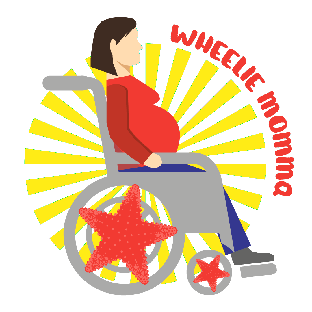 Wheelie Momma logo with illustration of pregnant woman in a wheelchair with a star spoke