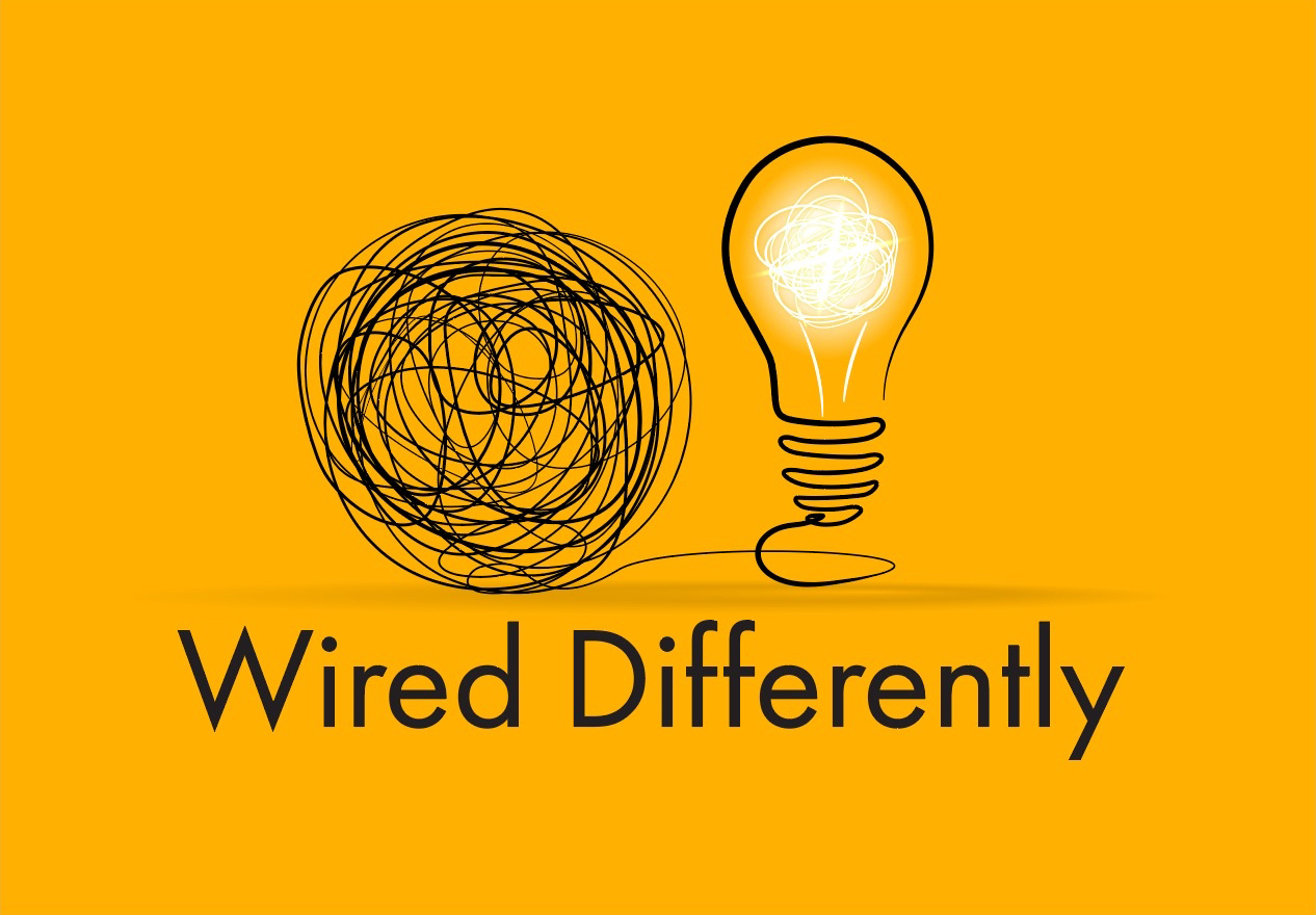 Wired Differently black logo with light bulb to the left and spiral illustration to the right on yellow rectangle