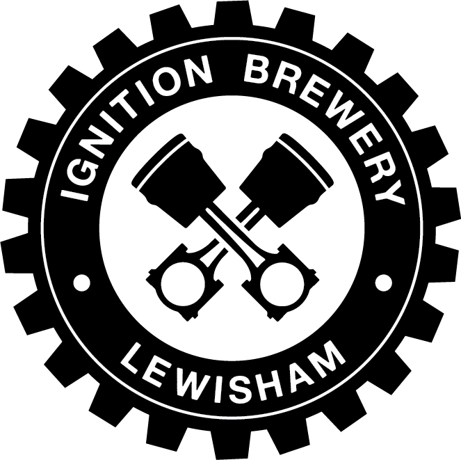 Ignition Brewery logo with black cog.