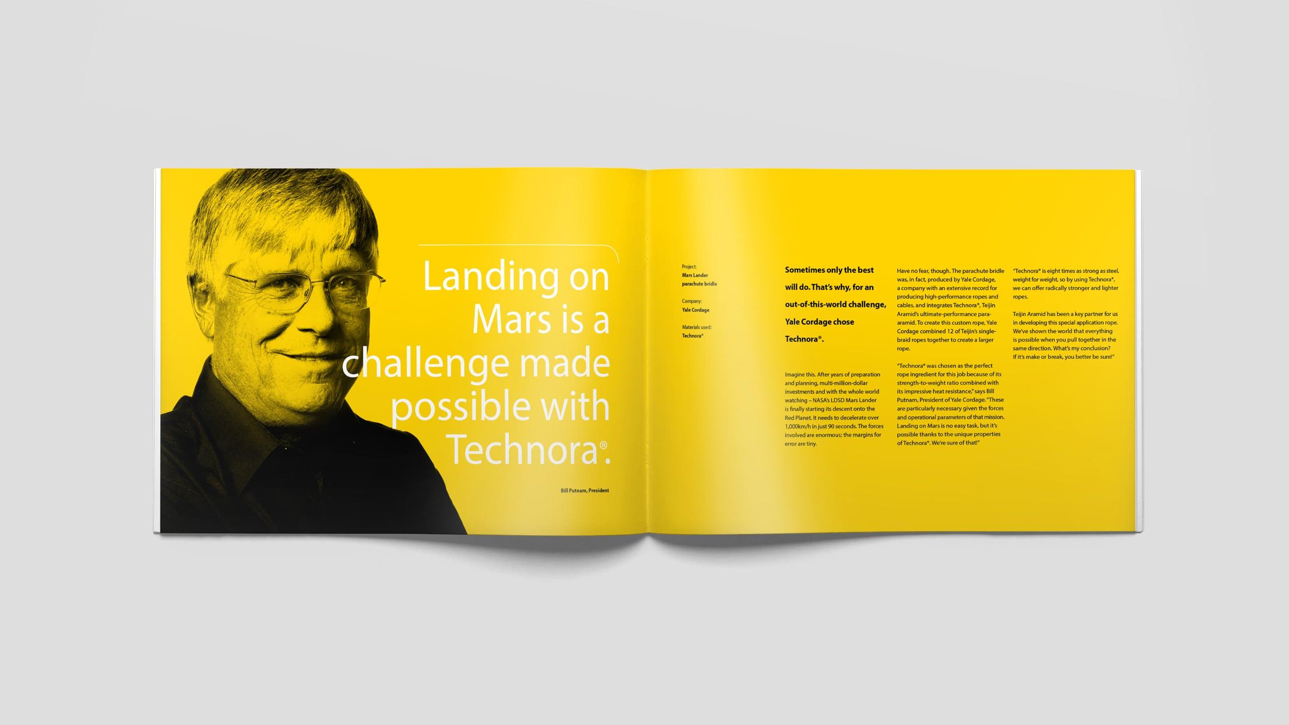 Corporate brochure Teijin Aramid met testimonial binnen nieuwe corporate identity
