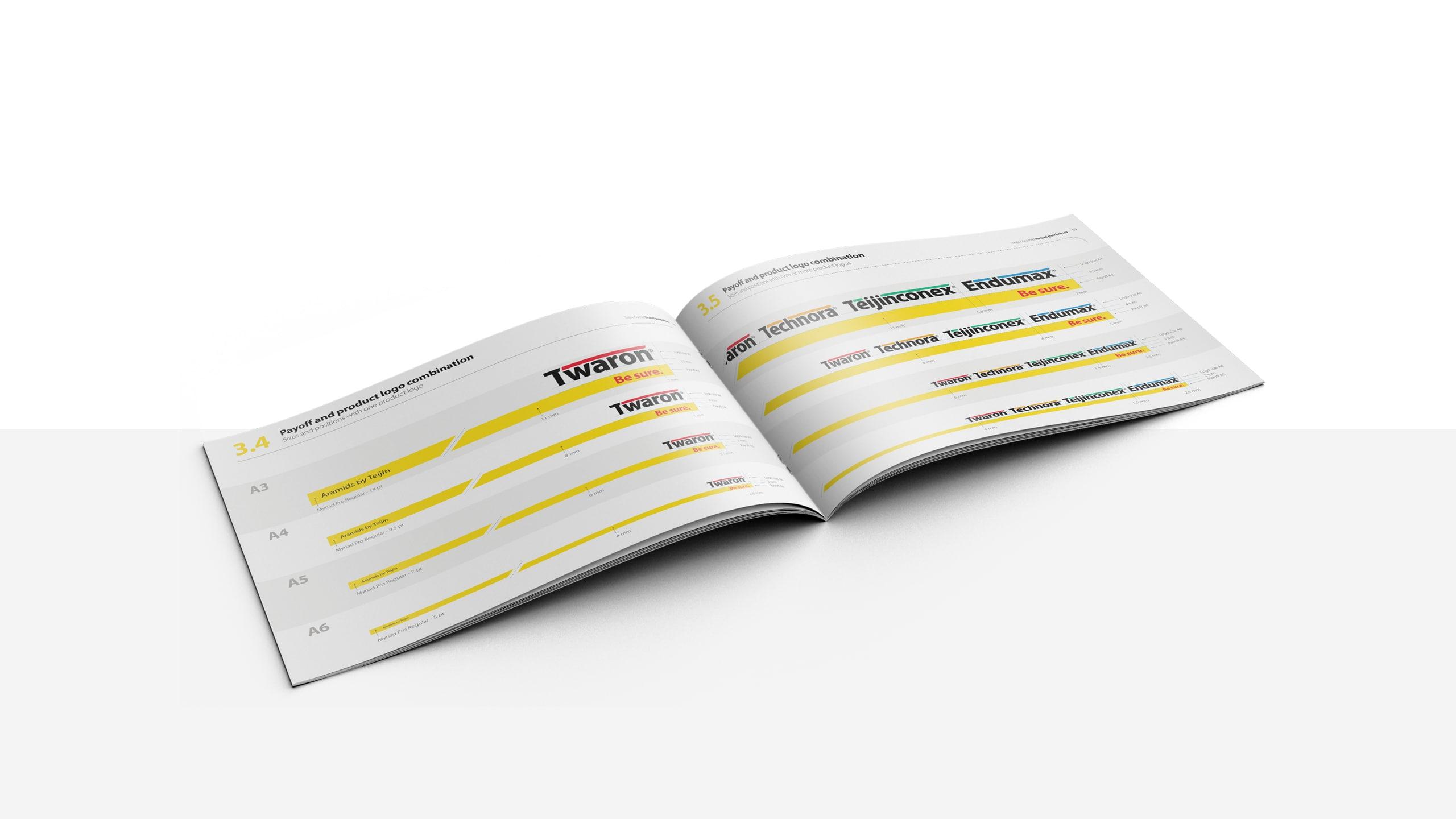 Brandbook met nieuwe corporate identity Teijin Aramid, o.a. met productlogo's, tone of voice en beeldtaal