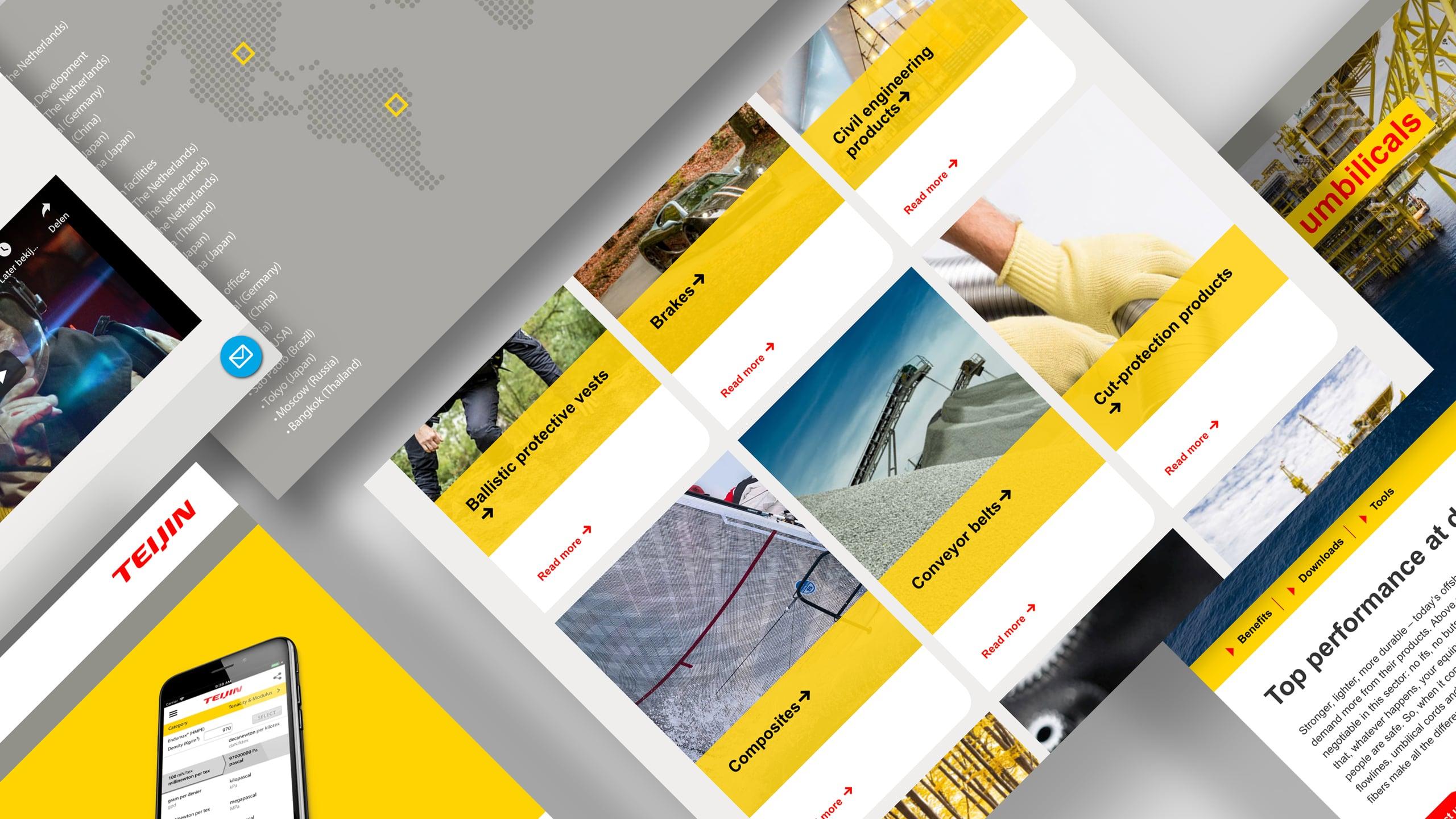 Website Teijin Aramid binnen nieuwe positionering en corporate identity