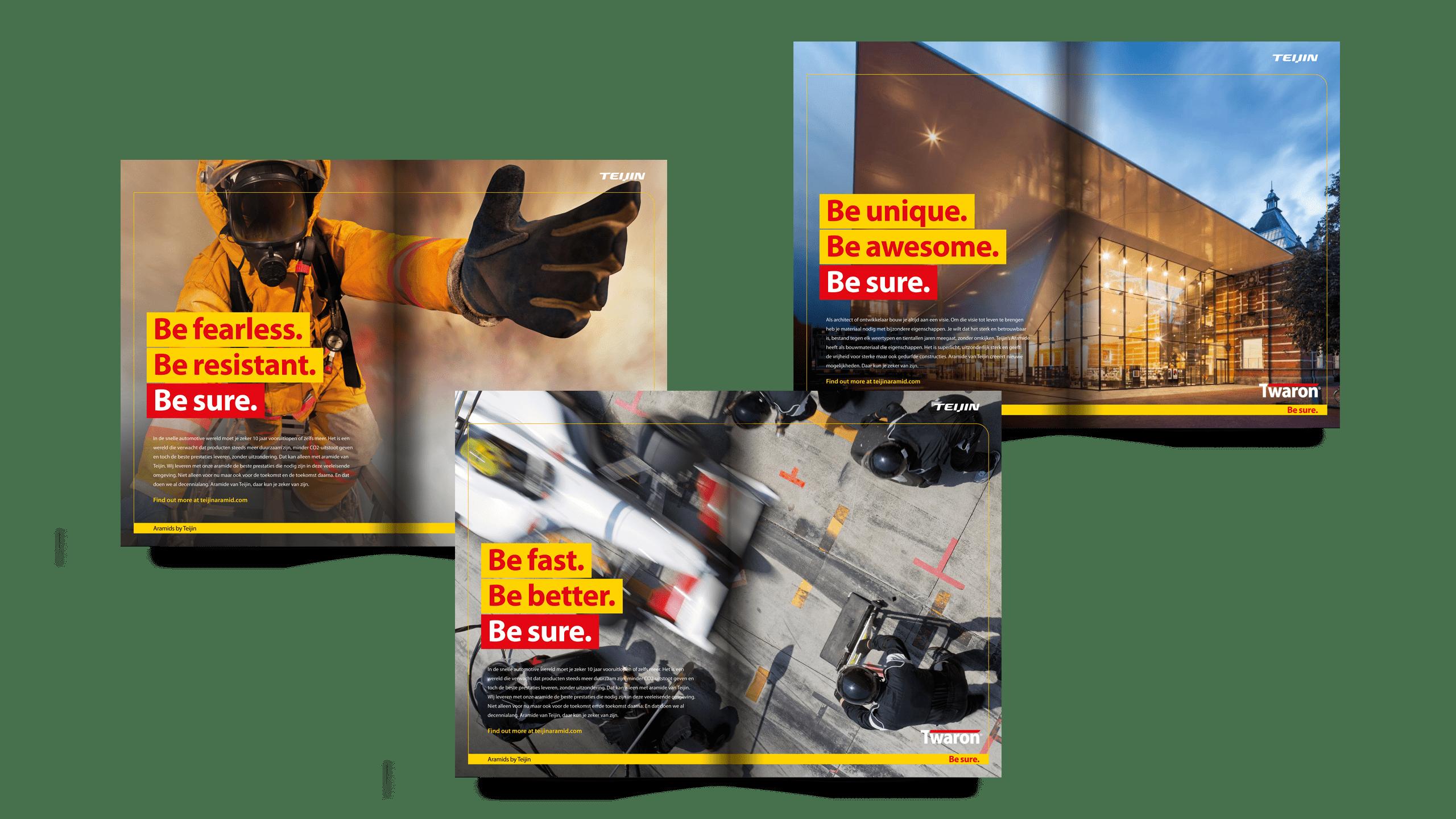Advertenties binnen nieuwe corporate identity Teijin Aramid met brandweer, Formule 1 en Stedelijk Museum