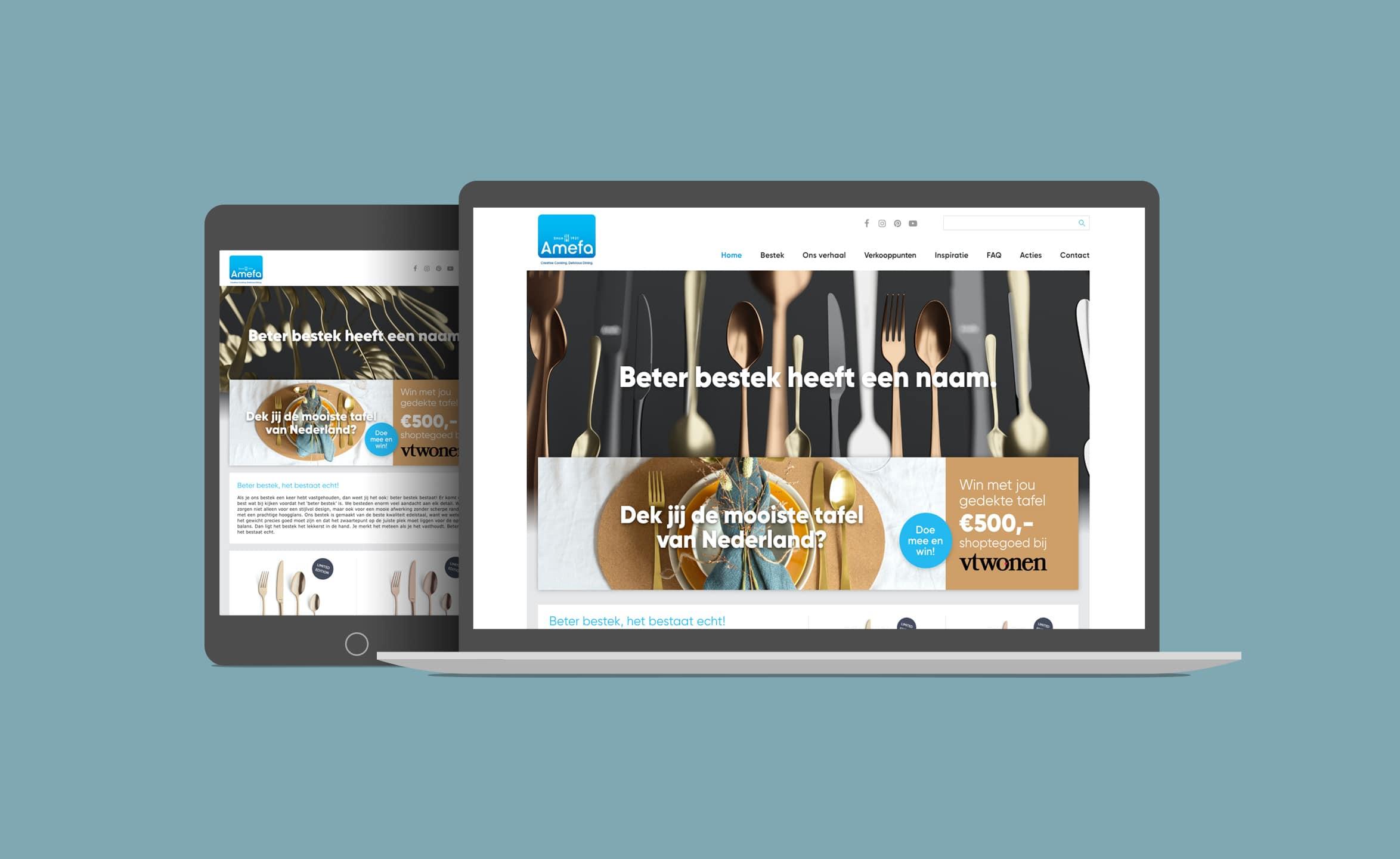 Website van Amefa bestek voor campagne naamsbekendheid op laptop en tablet