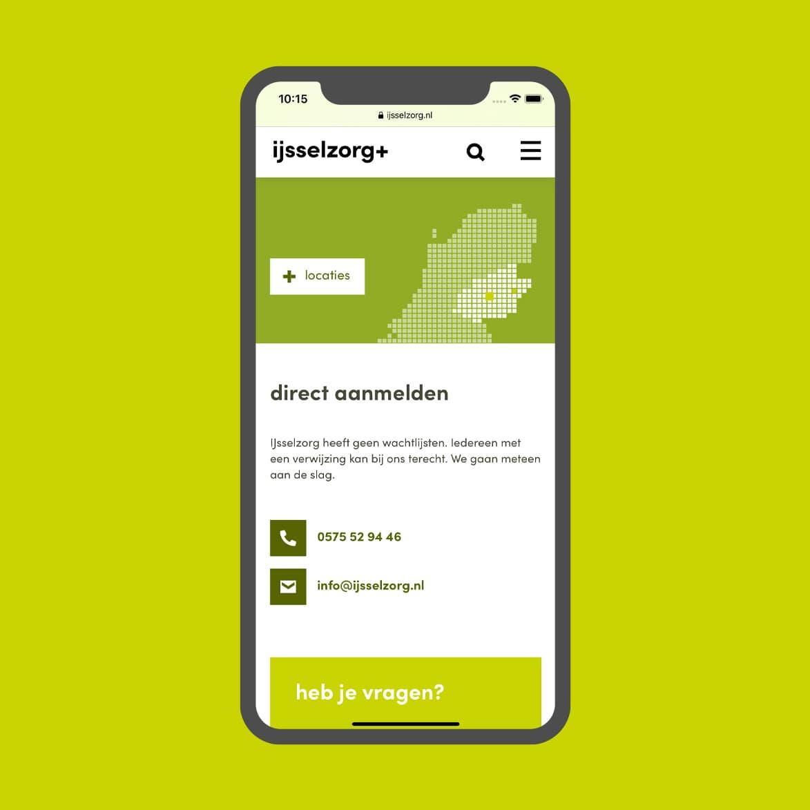 Website van IJsselzorg op mobiel in nieuwe huisstijl