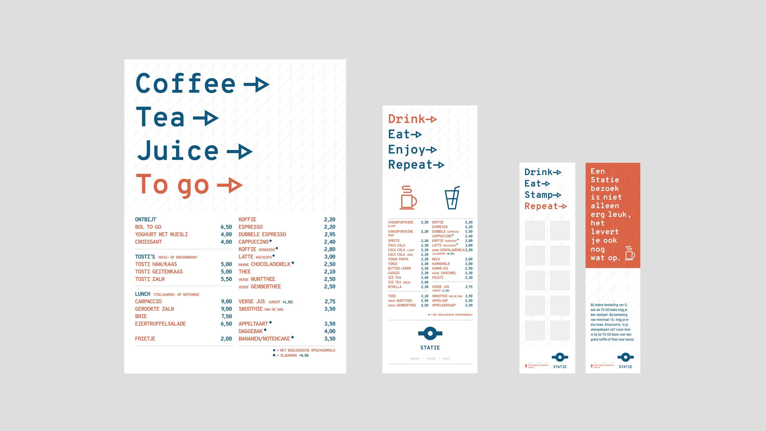 Menu, drankkaart en stempelkaart van Statie binnen nieuwe merkidentiteit en huisstijl