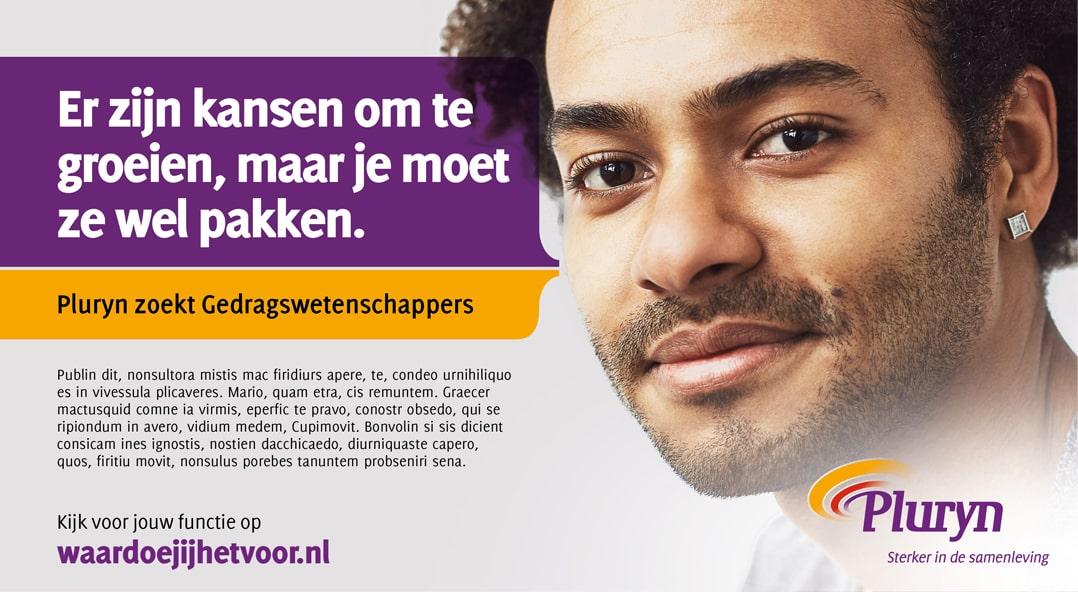 Advertentie binnen employer branding Pluryn voor werving gedragswetenschapper