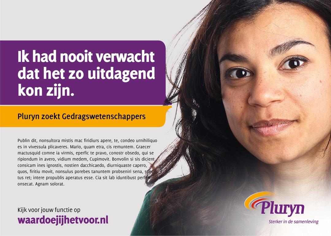Advertentie  voor werving gedragswetenschapper binnen employer branding Pluryn