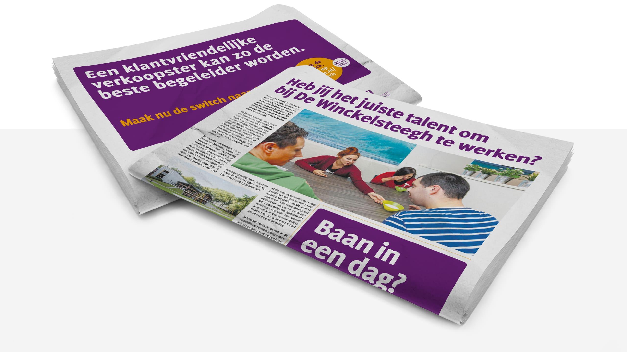 Advertentie binnen campagne voor werving begeleiders voor De Winckelsteegh