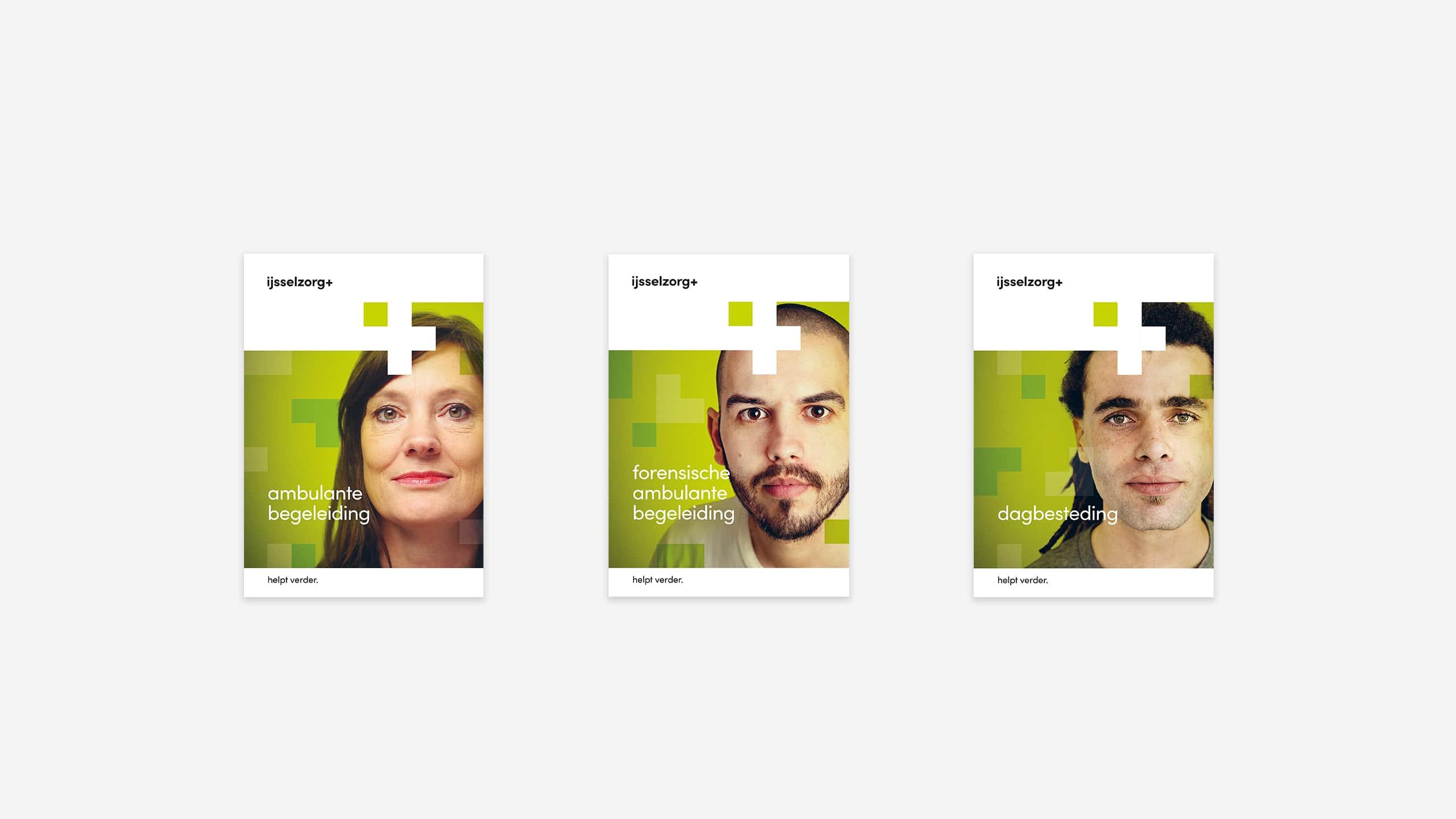 Folderlijn met een folder voor elke dienst van IJsselzorg in nieuwe huisstijl