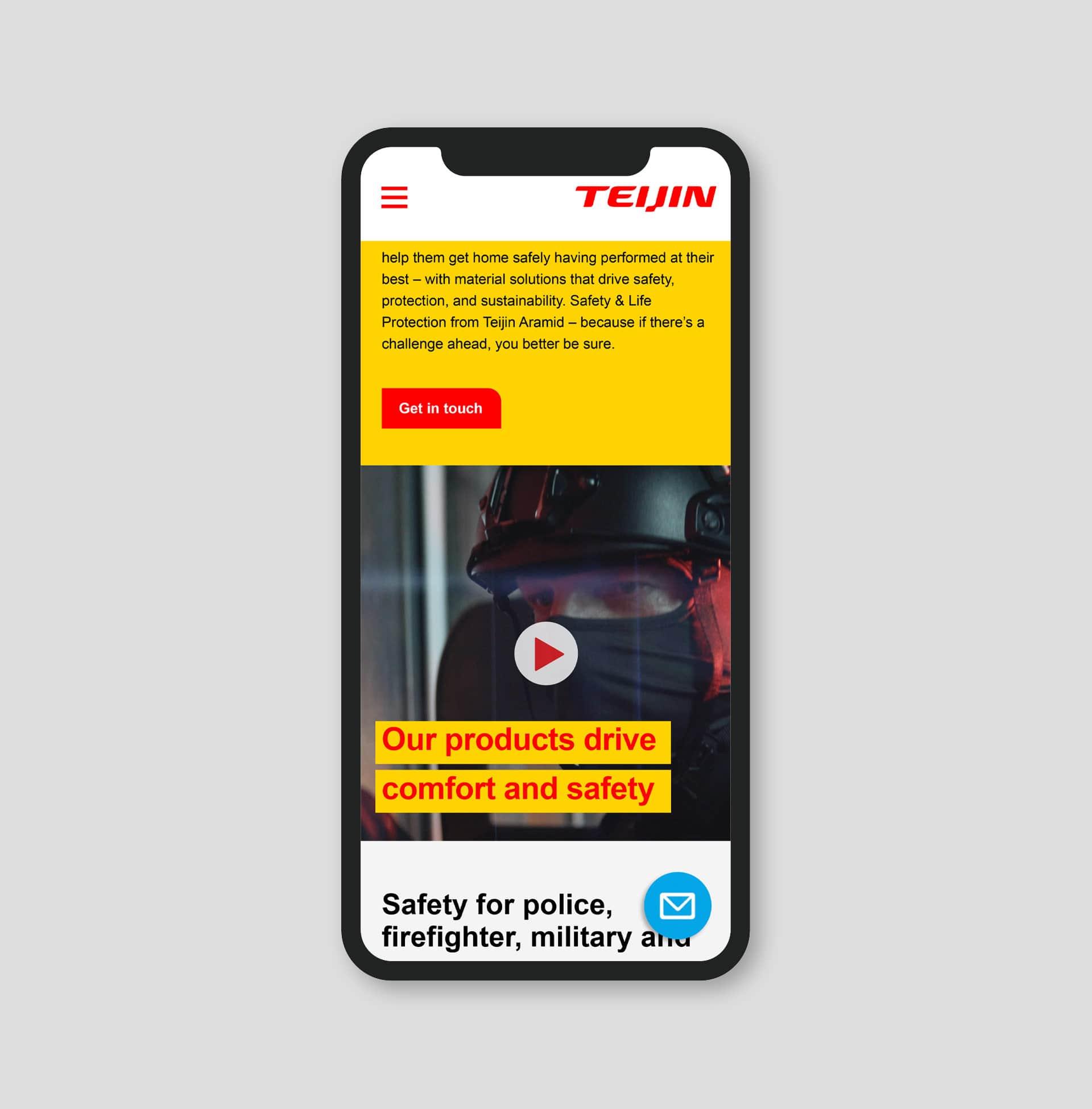 Landingspagina op mobiel van de campagne Safety & Life protection van Teijin Aramid