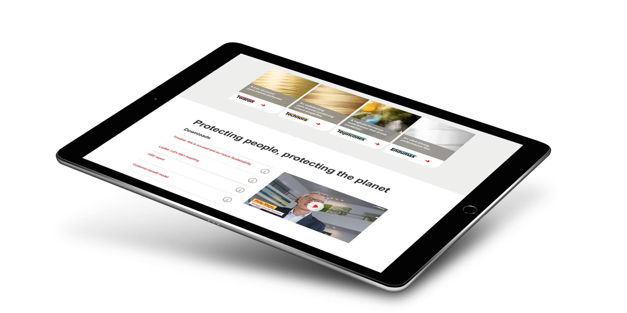 Landingspagina van de campagne Safety & Life protection van Teijin Aramid op tablet met downloads en een video