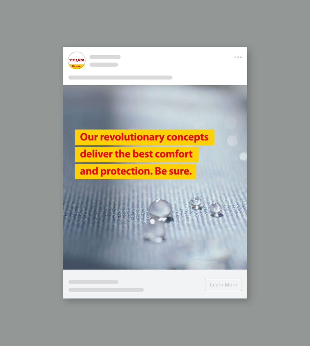 Social media post als onderdeel van Safety & Life protection campagne van Teijin Aramid op mobiel