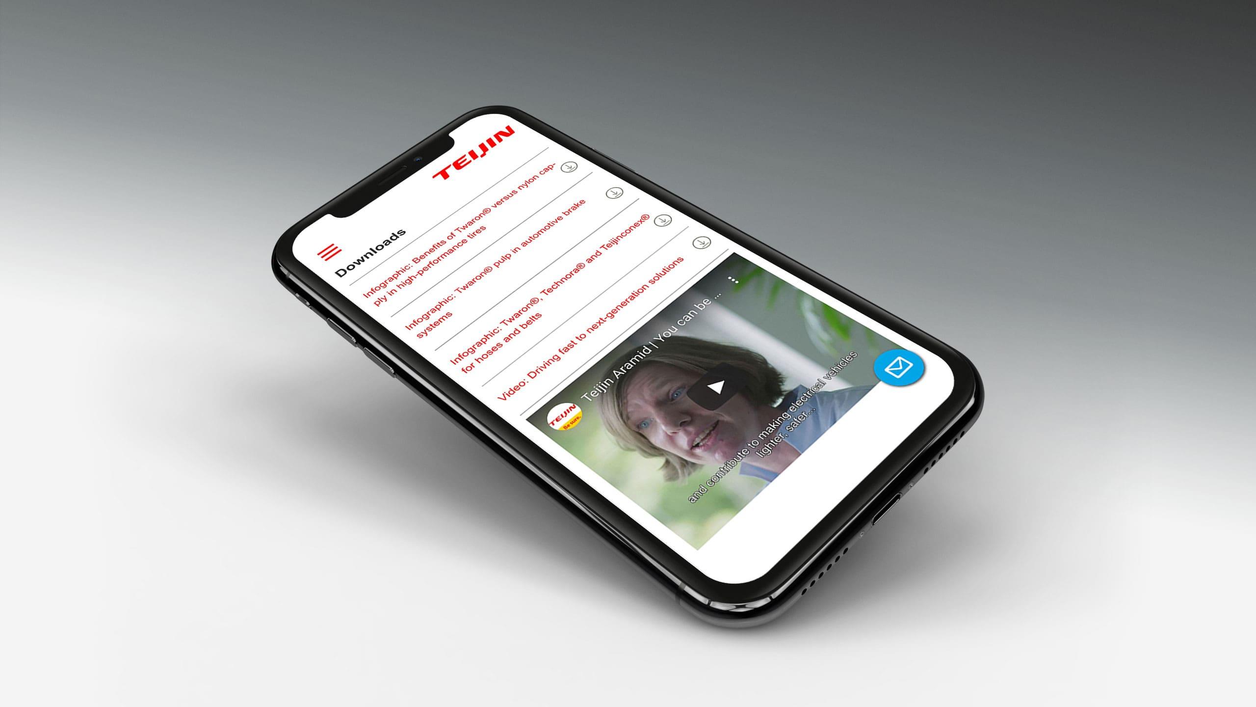 Website van Teijin op mobiel met een video met een medewerker aan het woord voor campagne Teijin Aramid