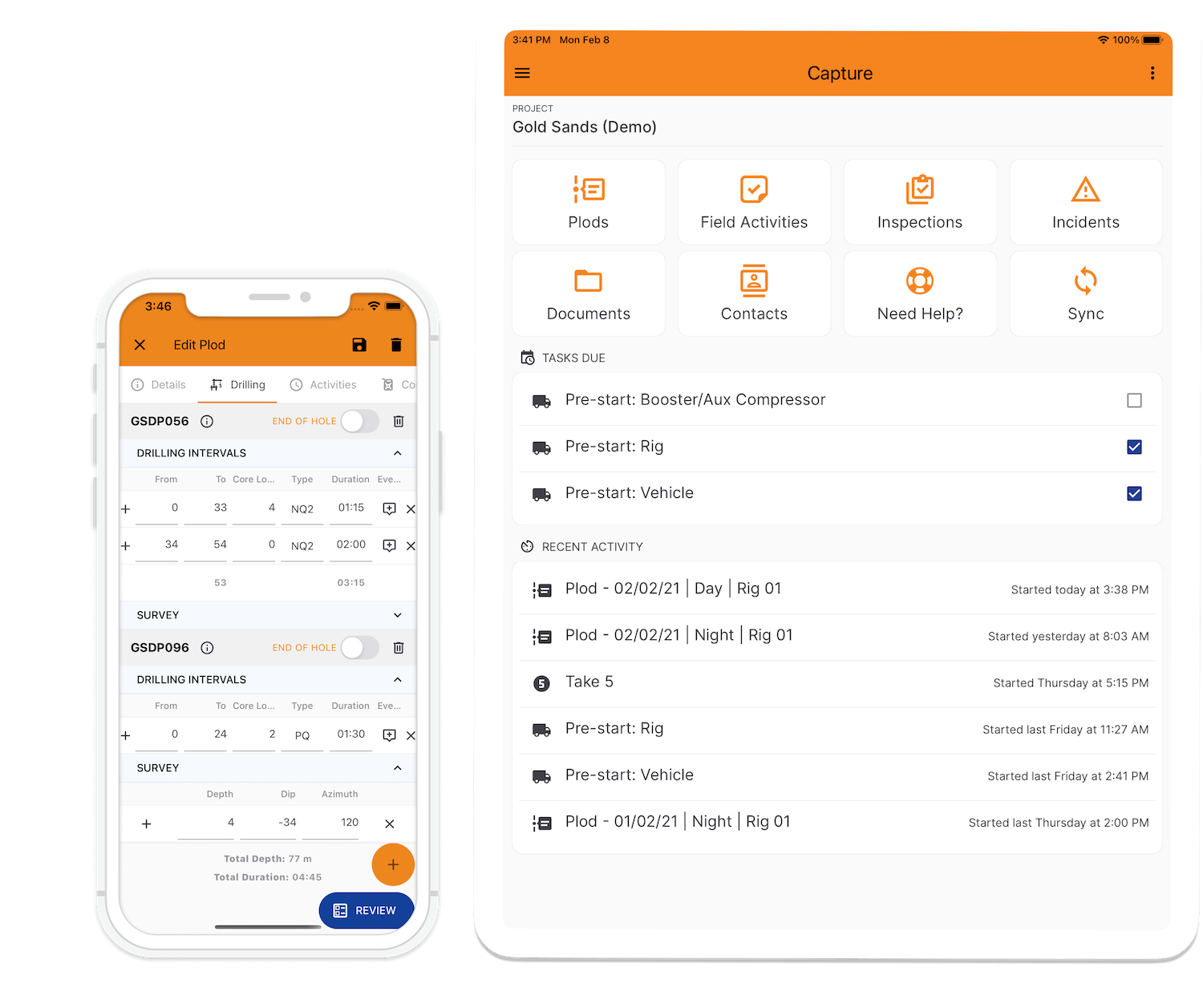 Coreplan Mobile and Tablet app for mining exploration and drilling to capture drill plods, inspections, incidents and other safety data