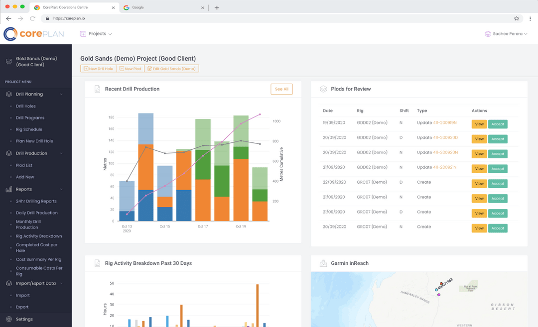 Screenshot of Coreplan Exploration project dashboard
