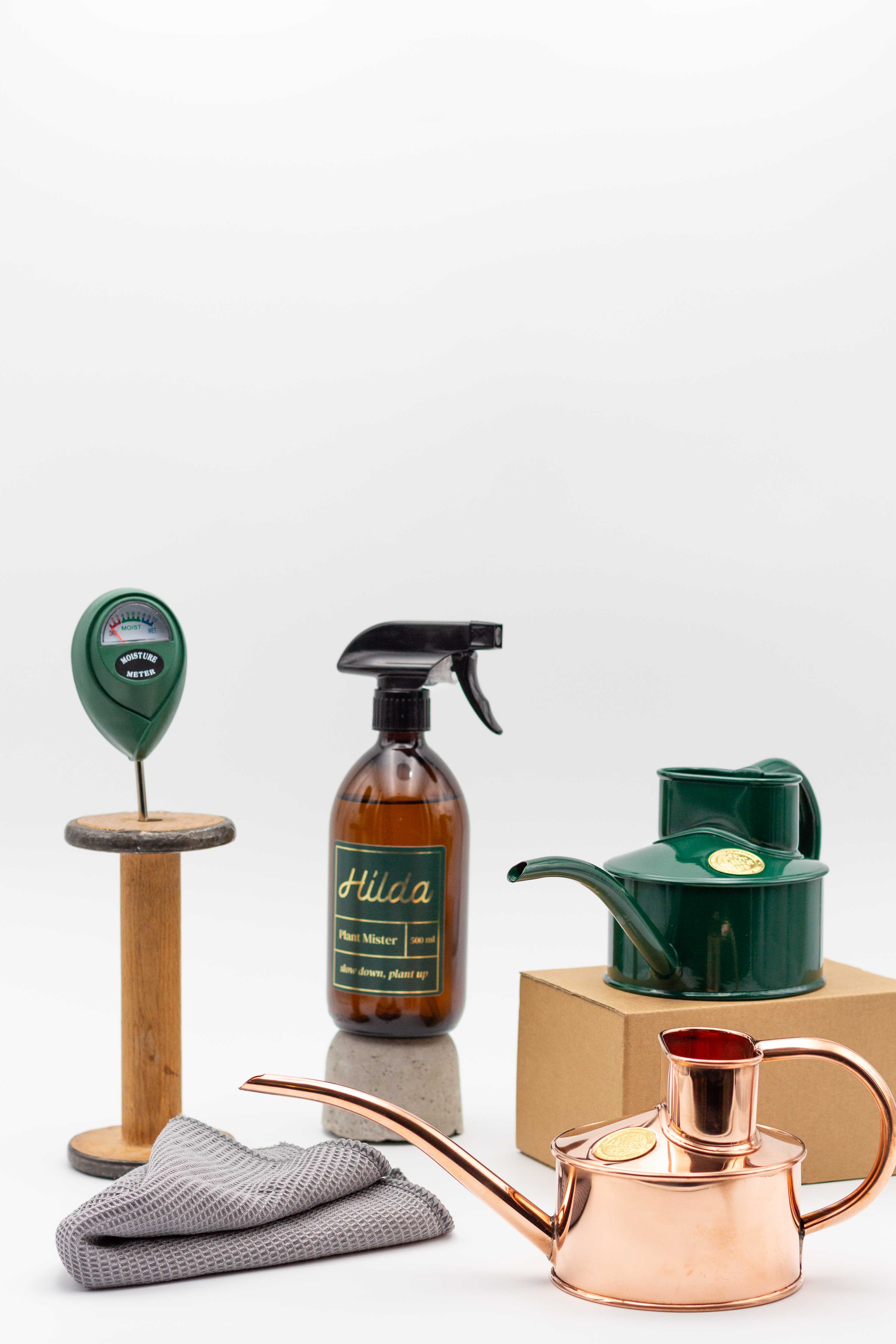 A layout of plant accessories that are great for someone just getting into house plants. Including metal watering cans, plant misters and a moisture meter.