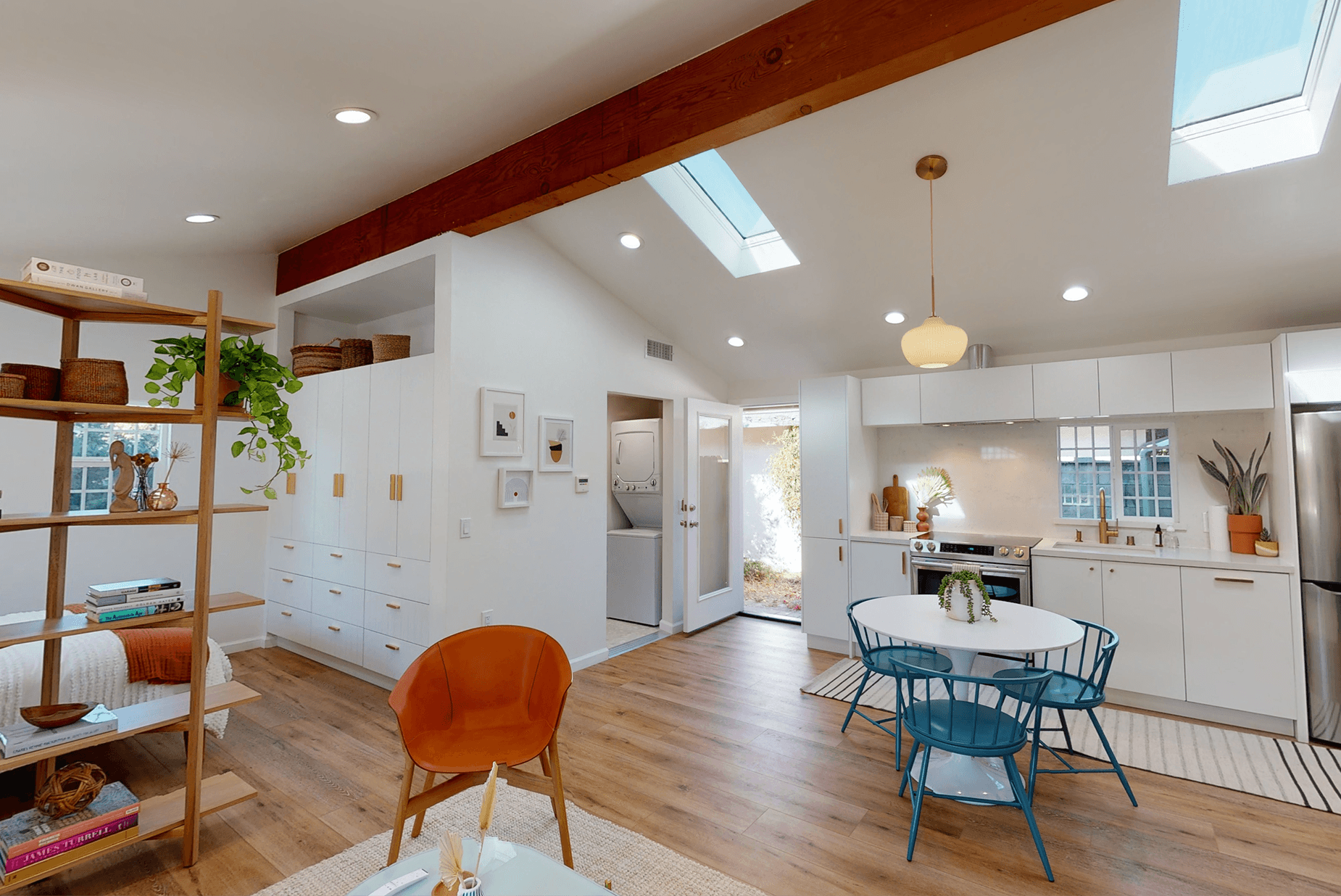 A garage conversion that is now a contemporary Los Angeles Accessory Dwelling Unit (ADU).