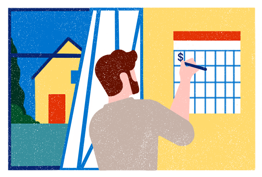 Illustration of a man marking the date he will earn money from renting his ADU