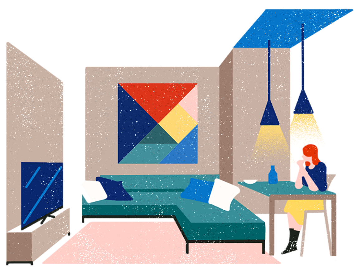 Illustration of a woman enjoying the extra space that her ADU gives her and her family.