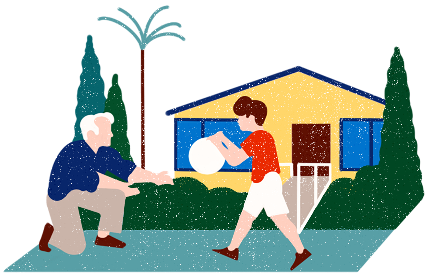 Illustration of a grandfather playing with his grandchild in front of a garage that's been converted to an ADU.