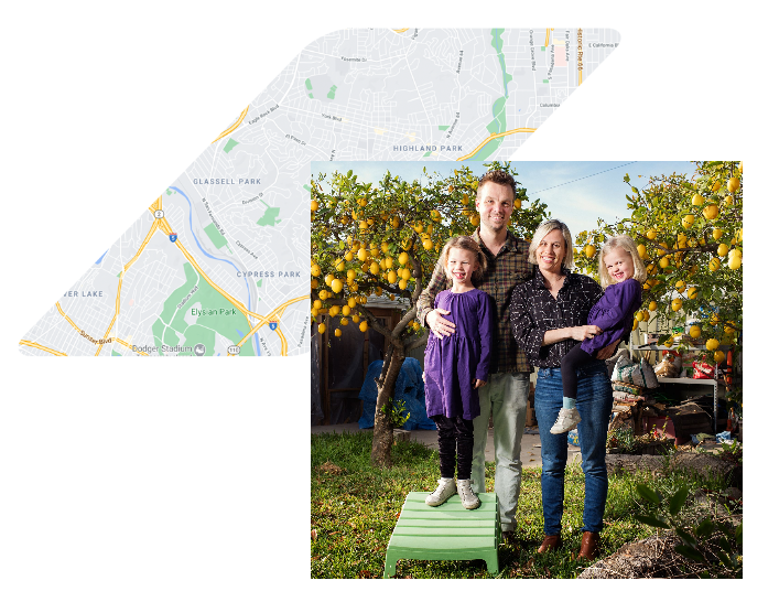 Happy family with map of los angeles